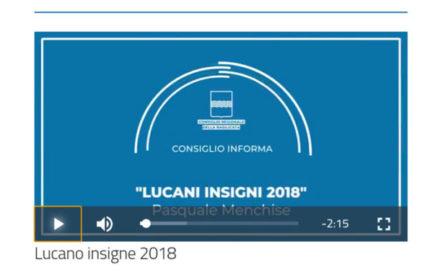 """Il M° Menchise tra i """"Lucani insigni 2018"""""""