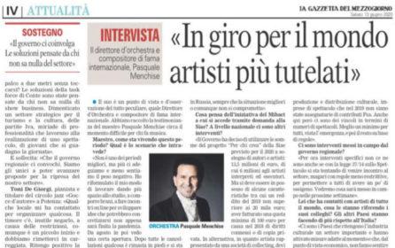 Lavorare con al musica: intervista a La Gazzetta del Mezzogiorno