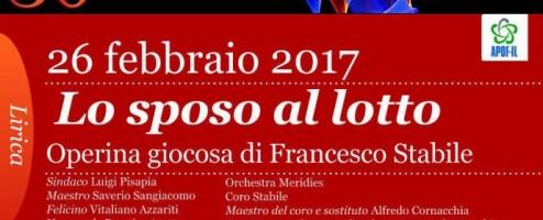 """XXX Stagione Concertistica, """"Lo Sposo al lotto"""" di F. Stabile domenica 26 febbraio"""