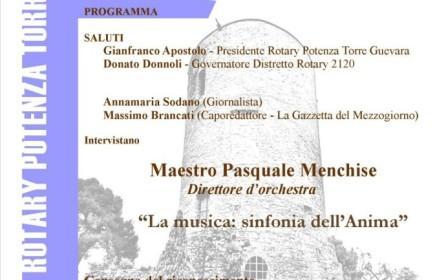 """AL M° MENCHISE IL PREMIO """"LUCANI IN PRIMO PIANO 2019"""" DEL CLUB ROTARY POTENZA TORRE GUEVARA"""